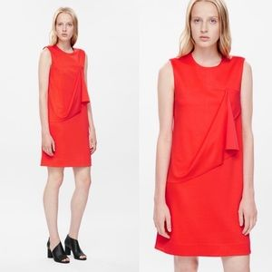 COS Coral Draped Sleeveless Dress